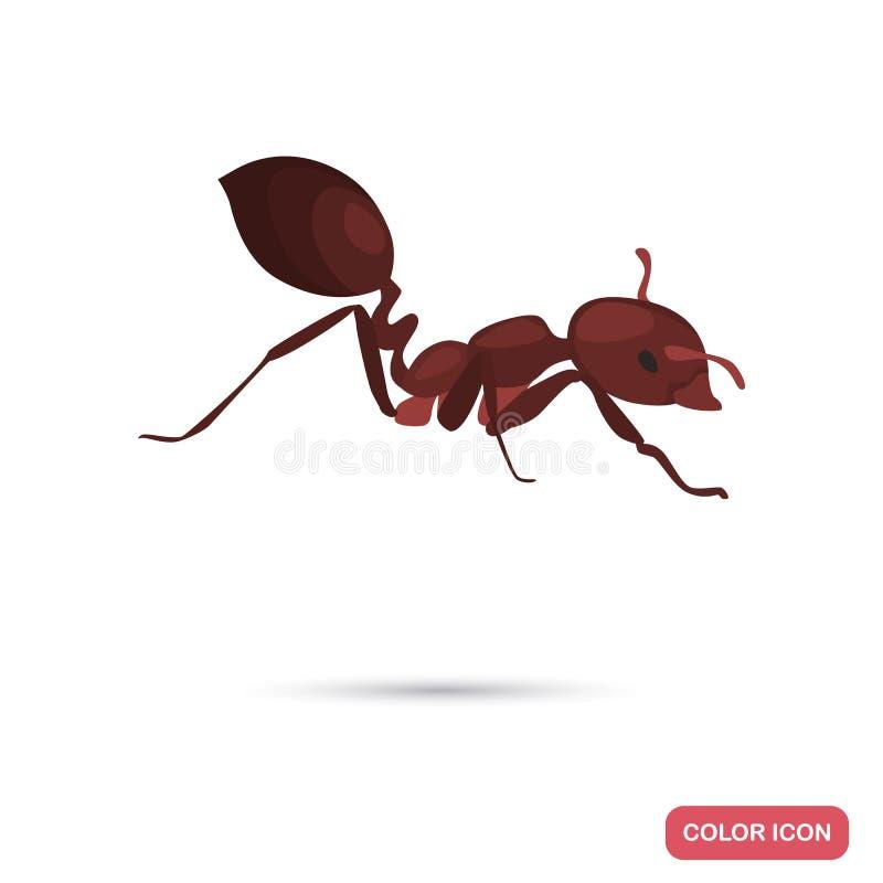 Значок цвета муравья огня плоский для сети и передвижного дизайна иллюстрация вектора