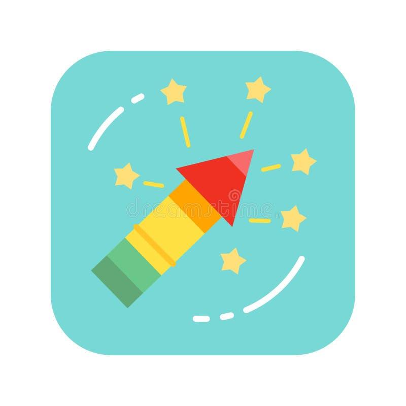 Значок цвета фейерверка праздника плоский Пиротехника, салютуя концепция иллюстрация вектора