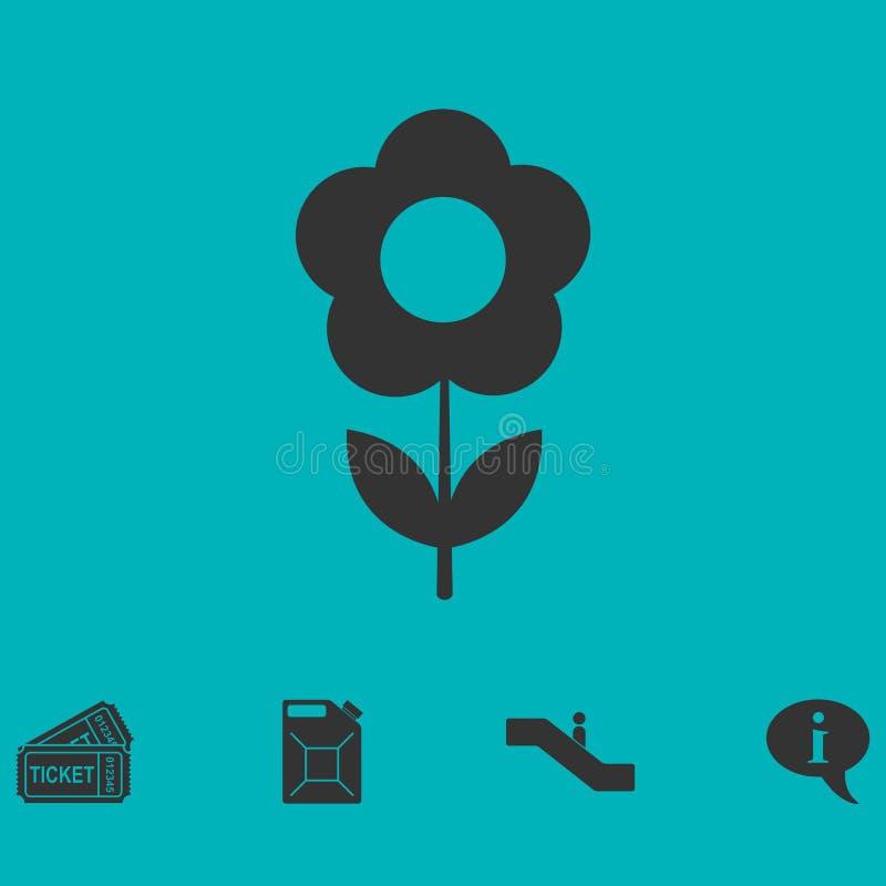 Значок цветка плоский иллюстрация штока