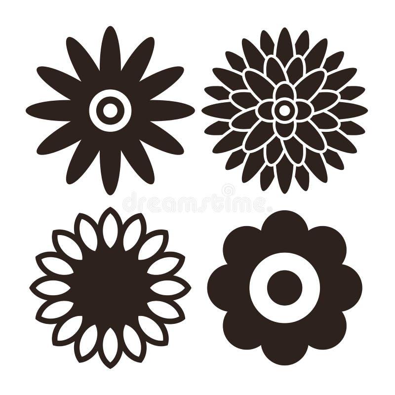 Значок цветка установил - gerbera, хризантему, солнцецвет и маргаритку иллюстрация штока