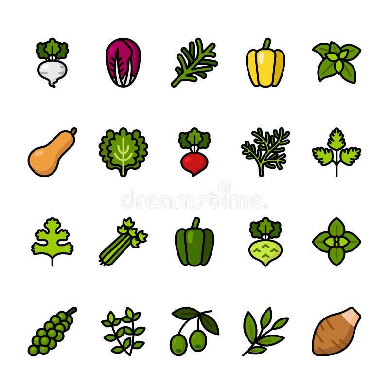 Значок цветного барьера установил овощей Значки пиксела совершенные иллюстрация штока