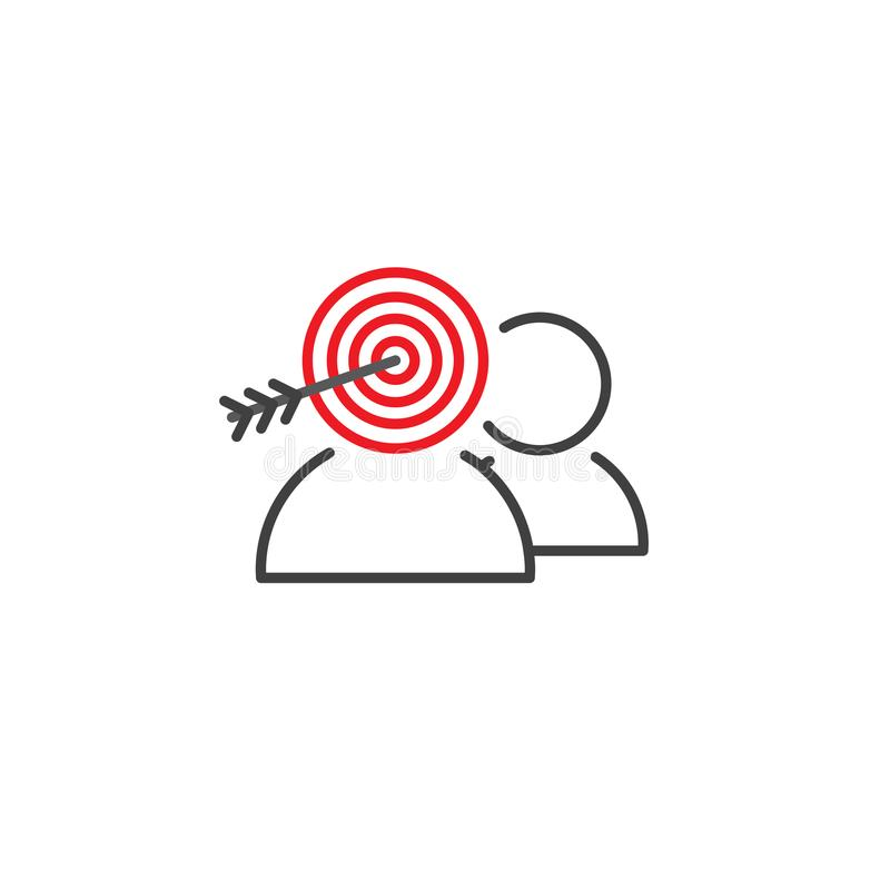 Значок целевого рынка с людьми & целью иллюстрация штока