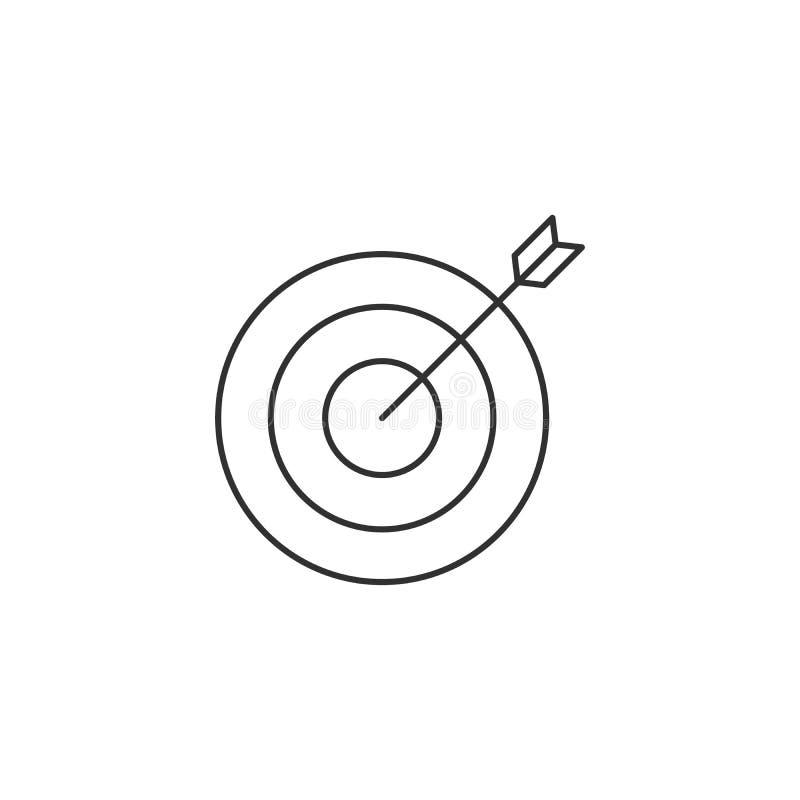 Значок цели и стрелки изолированный на белой предпосылке иллюстрация вектора