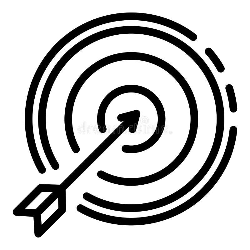 Значок цели стрелки право на, стиль плана иллюстрация вектора