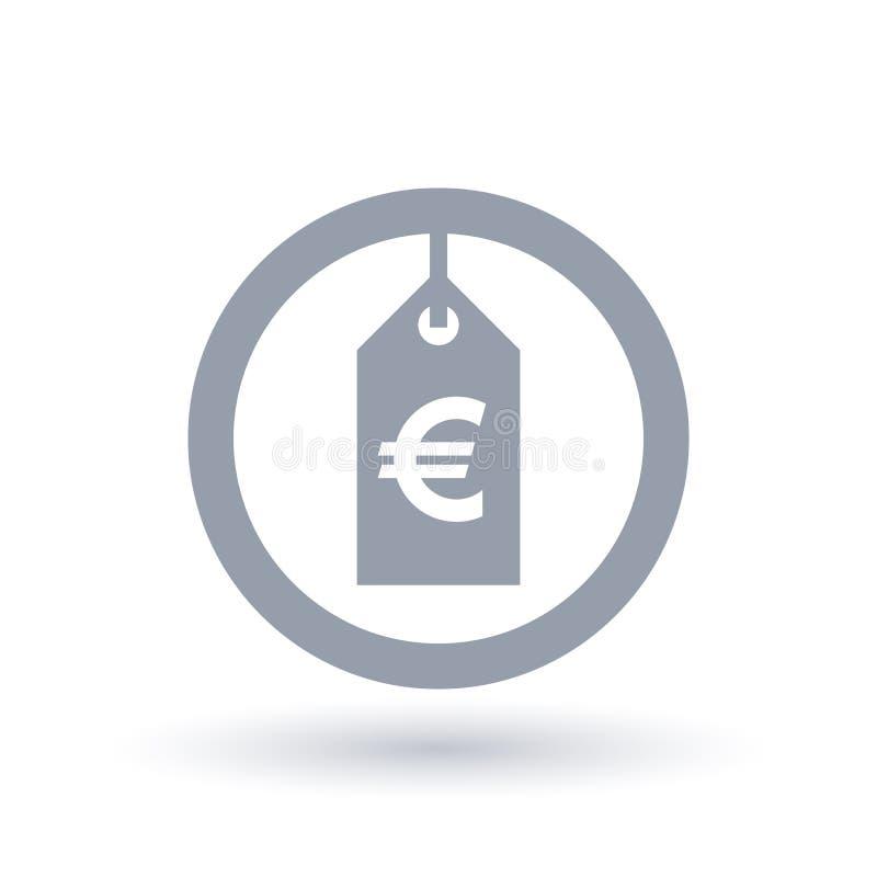 Значок ценника евро - европейский знак ярлыка продажи иллюстрация штока
