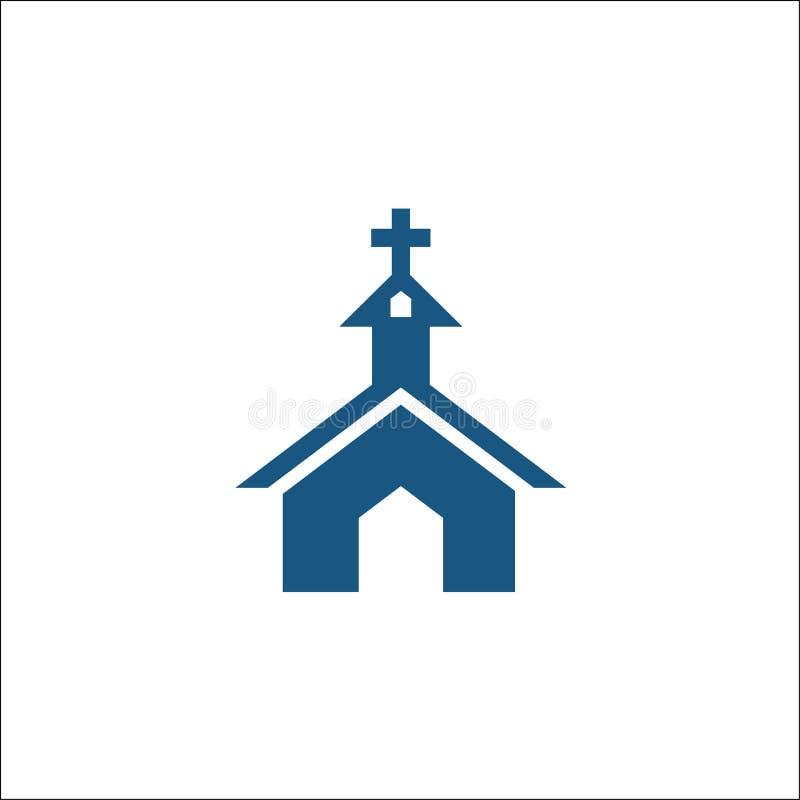 Значок церков в плоским изолированной стилем иллюстрации вектора логотипа бесплатная иллюстрация