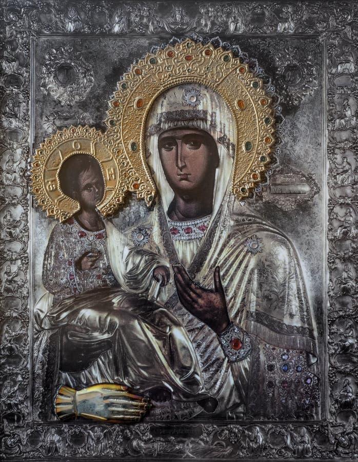 Значок церков матери бога Mary и Иисуса Христоса ребенка стоковое изображение rf