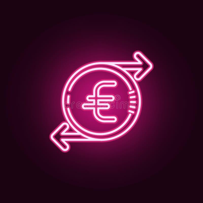 значок цикла евро неоновый Элементы набора банка Простой значок для вебсайтов, веб-дизайн, мобильное приложение, графики информац бесплатная иллюстрация