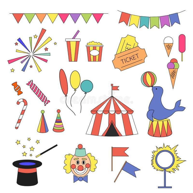 Значок цирка установленный с оборудованием цирка иллюстрация вектора