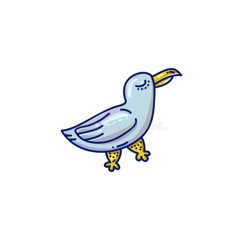 Значок чайки шаржа иллюстрация вектора