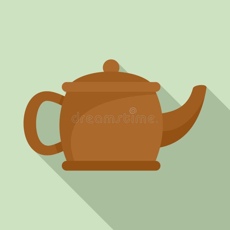 Значок чайника Matcha, плоский стиль иллюстрация вектора