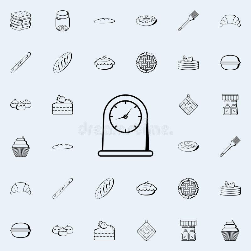 значок часов кухни Комплект значков магазина хлебопекарни всеобщий для сети и черни бесплатная иллюстрация