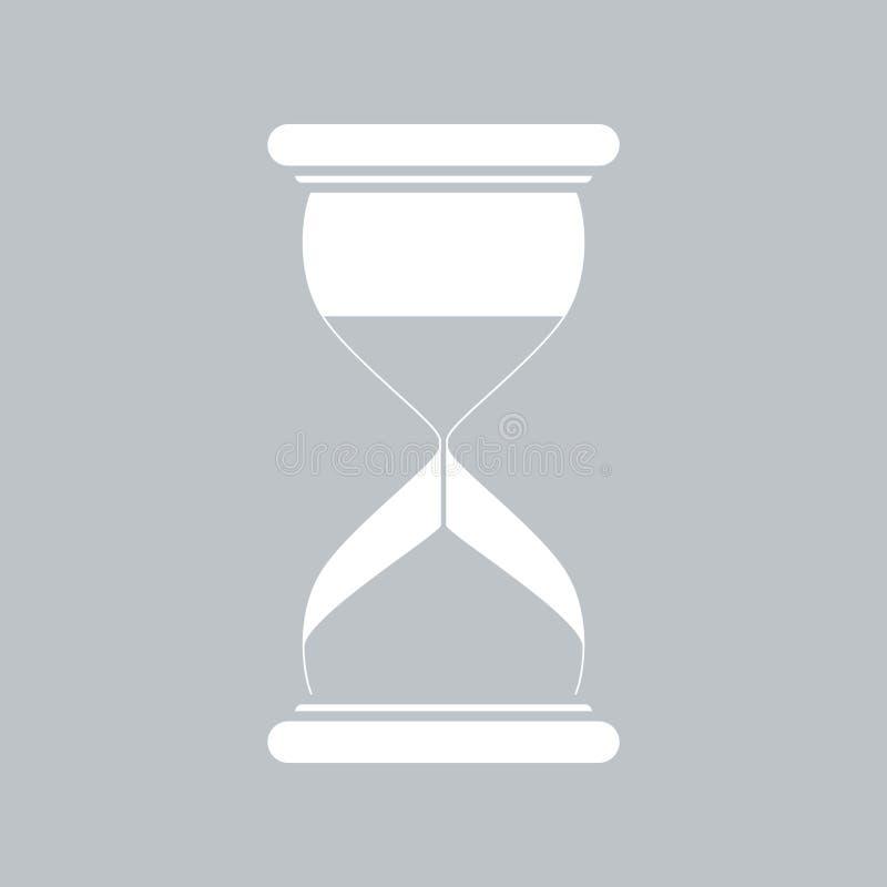 Значок часов плоский на серой предпосылке, для любого случая иллюстрация вектора