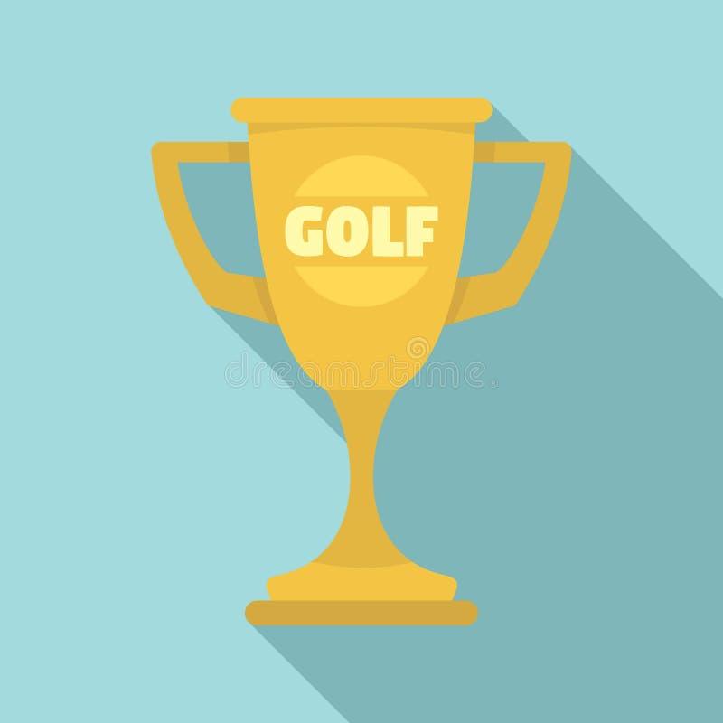 Значок чашки золота гольфа, плоский стиль иллюстрация штока