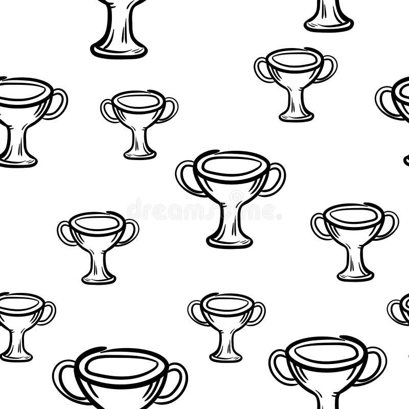 Значок чашки моды картины красивой руки вычерченный безшовный Эскиз руки вычерченный черный Знак/символ/doodle r бесплатная иллюстрация