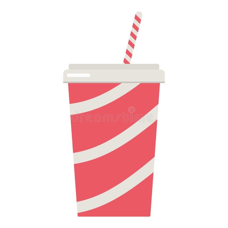 Значок чашки соды, плоский стиль иллюстрация штока