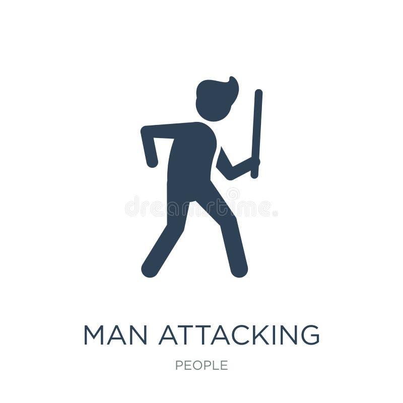 значок человека атакуя в ультрамодном стиле дизайна значок человека атакуя изолированный на белой предпосылке значок вектора чело иллюстрация вектора