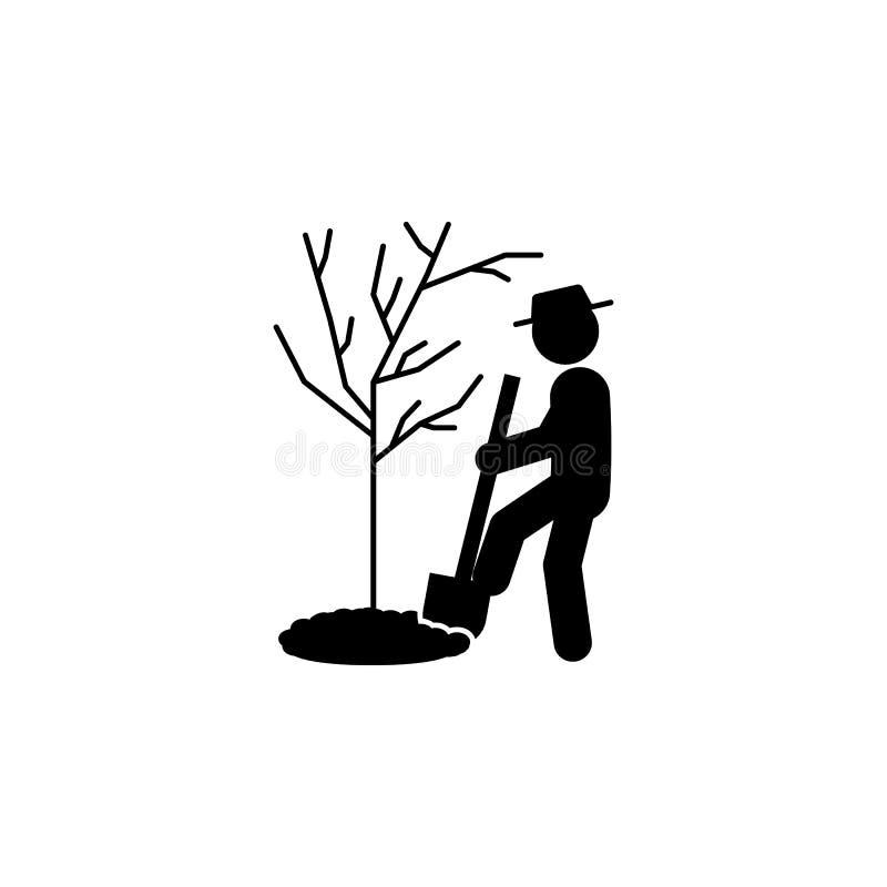 значок человека выкапывая Элемент садовничая значка для передвижных apps концепции и сети Выкапывать глифа можно использовать для иллюстрация вектора