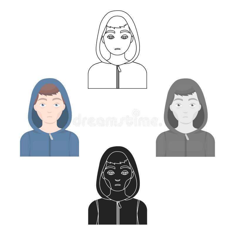 Значок человека наркомана лекарства в мультфильме, черном стиле изолированном на белой предпосылке Иллюстрация вектора запаса сим иллюстрация штока