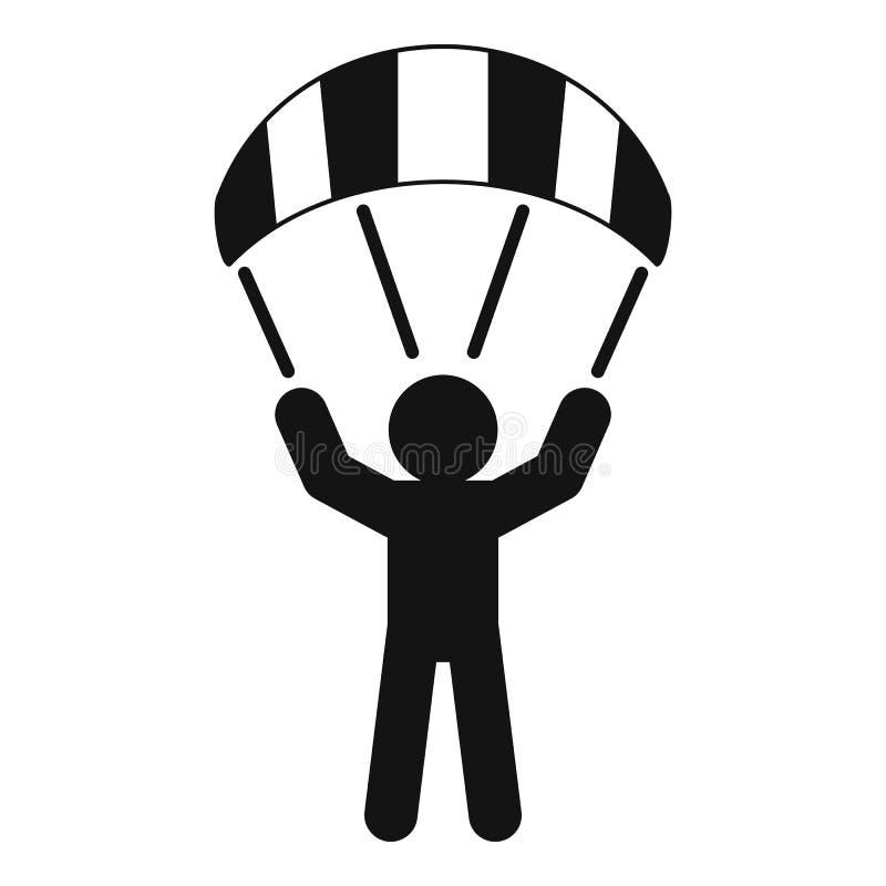 Значок человека прыгуна парашюта, простой стиль иллюстрация штока