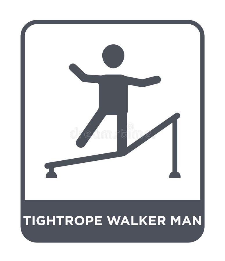 значок человека ходока опасного положения в ультрамодном стиле дизайна значок человека ходока опасного положения изолированный на иллюстрация вектора