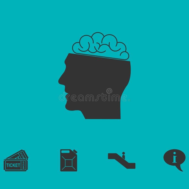 Значок человеческого мозга плоский иллюстрация вектора