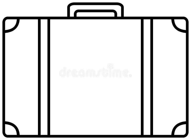 Значок чемодана Иллюстрация плана вектора стоковое изображение