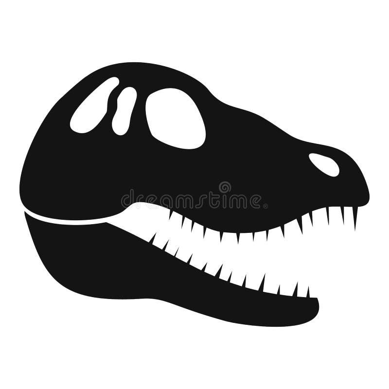 Значок черепа динозавра главный, простой стиль иллюстрация штока