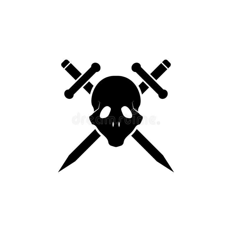 значок черепа и шпаг Элемент значка татуировки для передвижных apps концепции и сети Череп стиля глифа и значок шпаг можно исполь бесплатная иллюстрация