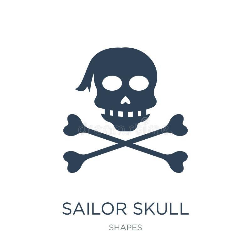 значок черепа матроса в ультрамодном стиле дизайна значок черепа матроса изолированный на белой предпосылке значок вектора черепа иллюстрация штока