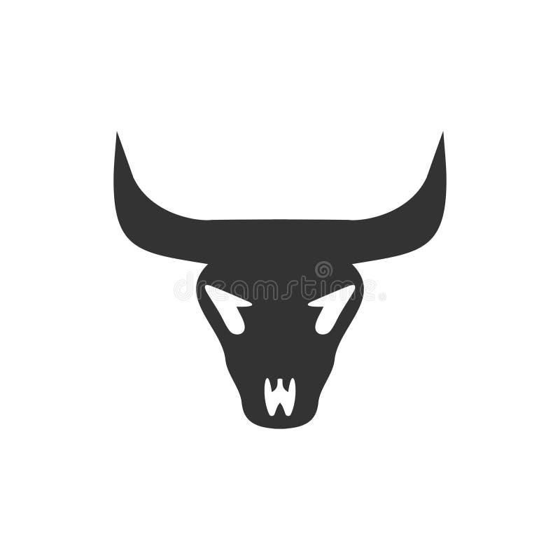 Значок черепа Bull плоско иллюстрация вектора