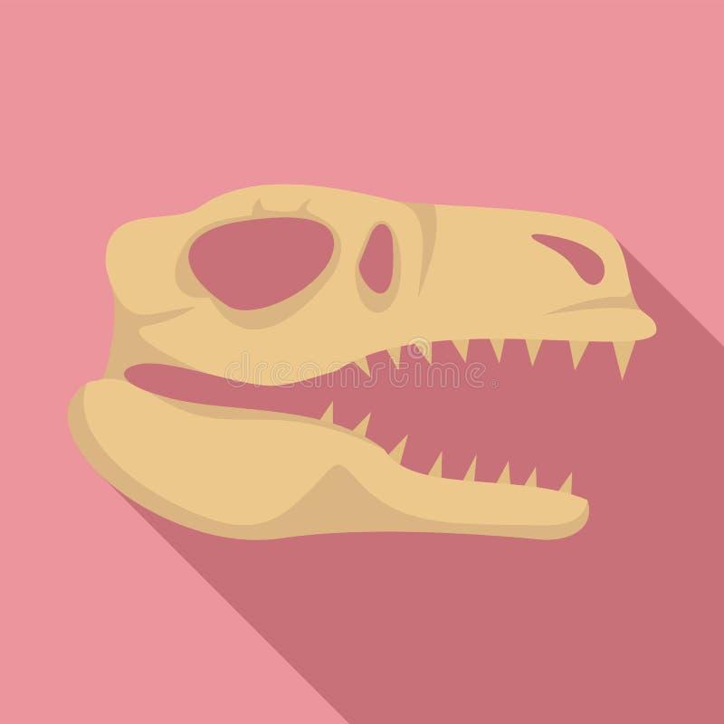 Значок черепа Dino главный, плоский стиль иллюстрация штока
