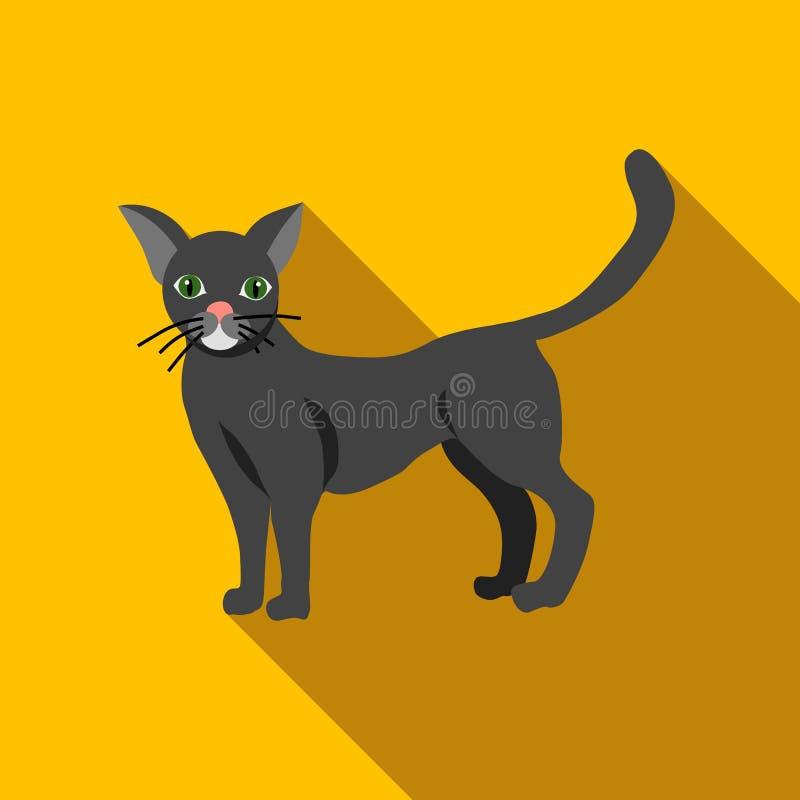 Значок черного кота хеллоуина, плоский стиль бесплатная иллюстрация