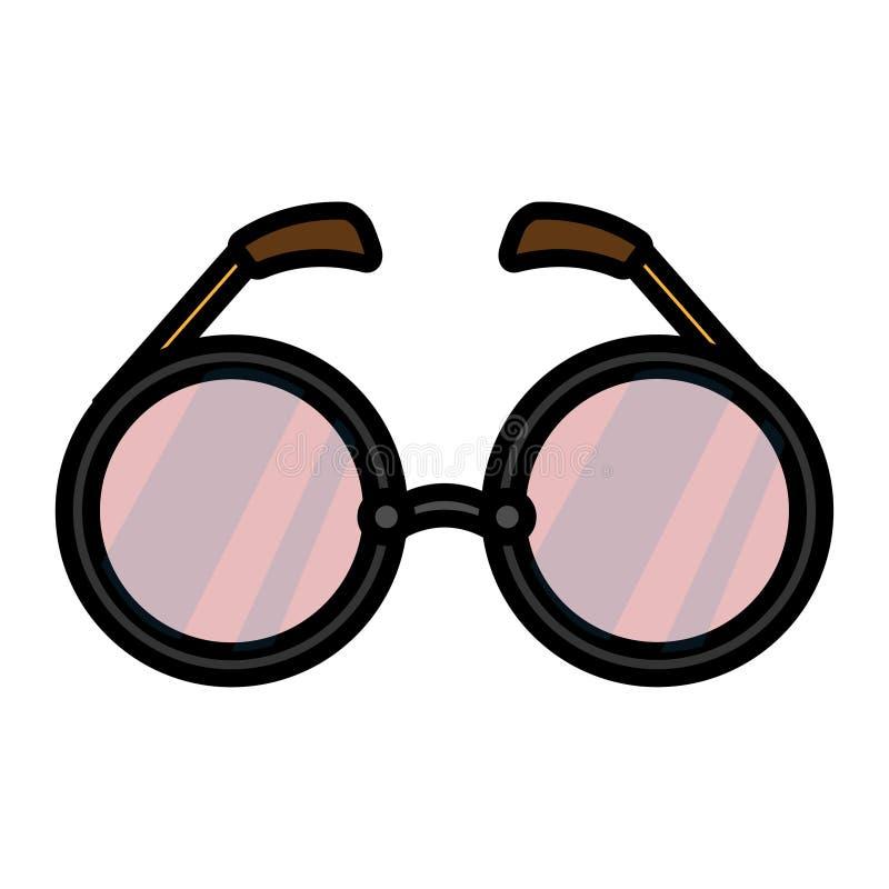 Значок черного пурпурного пинка стеклянный плоский солнечные очки eyeglass простой линейной моды блестящие с круглыми объективами иллюстрация вектора