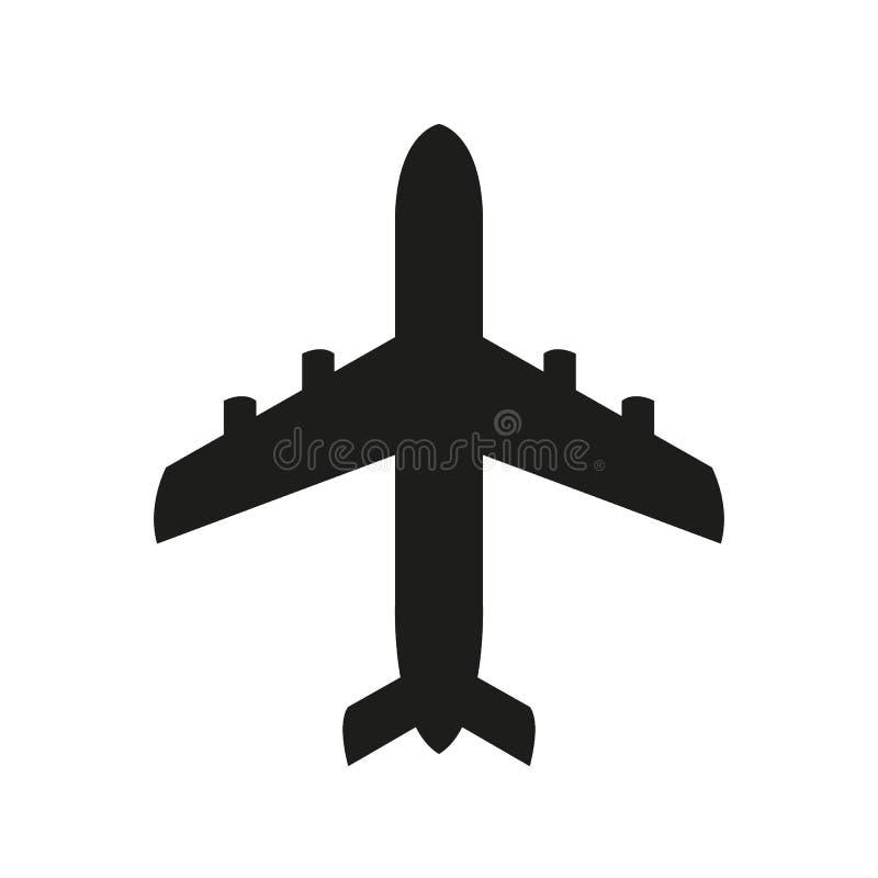 Значок черноты значка самолета стоковое фото