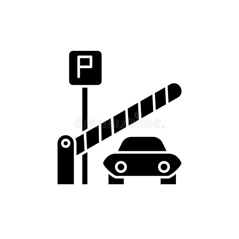 Значок черноты парковки, знак вектора на изолированной предпосылке Символ концепции парковки, иллюстрация иллюстрация вектора