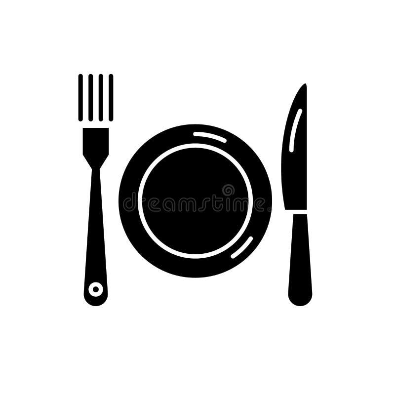 Значок черноты плиты, вилки и ножа, знак вектора на изолированной предпосылке Символ концепции плиты, вилки и ножа, иллюстрация бесплатная иллюстрация