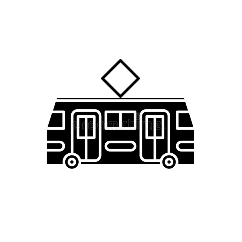 Значок черноты трамвая, знак вектора на изолированной предпосылке Символ концепции трамвая, иллюстрация иллюстрация штока