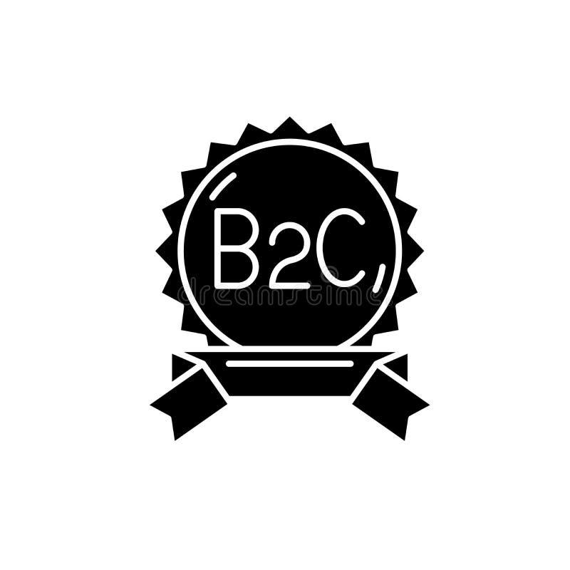 Значок черноты B2c, знак вектора на изолированной предпосылке Символ концепции B2c, иллюстрация иллюстрация штока