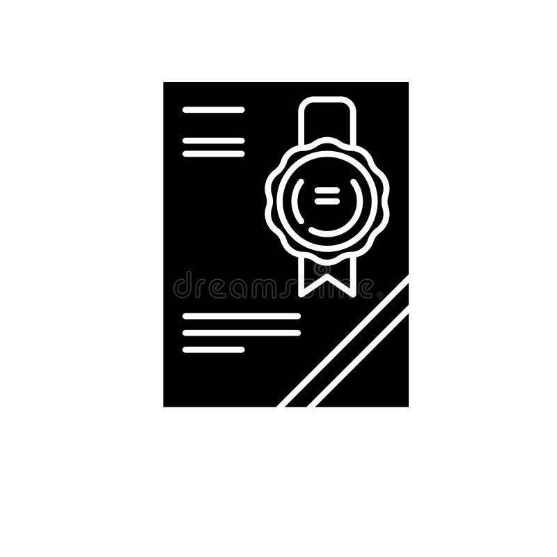 Значок черноты Cerificate, знак вектора на изолированной предпосылке Символ концепции Cerificate, иллюстрация иллюстрация штока