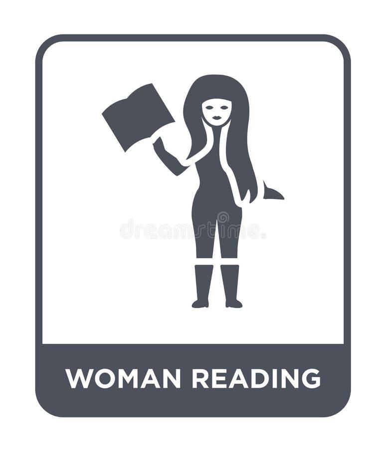 значок чтения женщины в ультрамодном стиле дизайна значок чтения женщины изолированный на белой предпосылке значок вектора чтения бесплатная иллюстрация