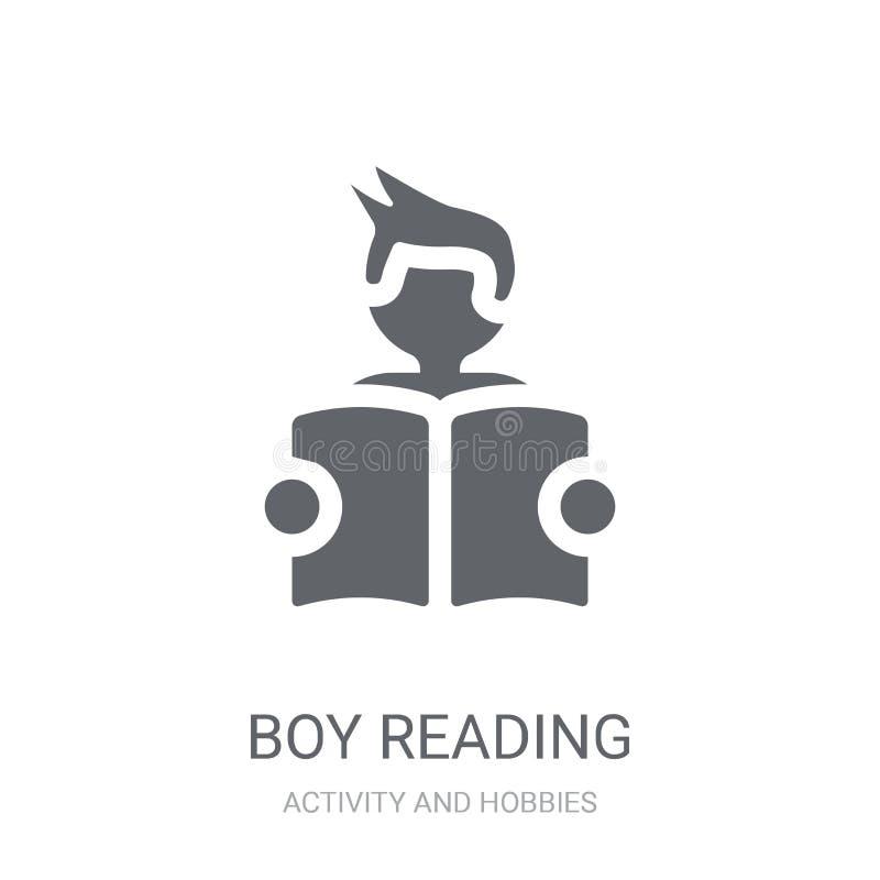 Значок чтения мальчика Ультрамодная концепция логотипа чтения мальчика на белом backg бесплатная иллюстрация