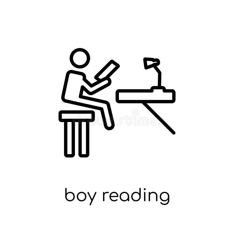 Значок чтения мальчика Ультрамодный современный плоский линейный мальчик читая I вектора иллюстрация штока