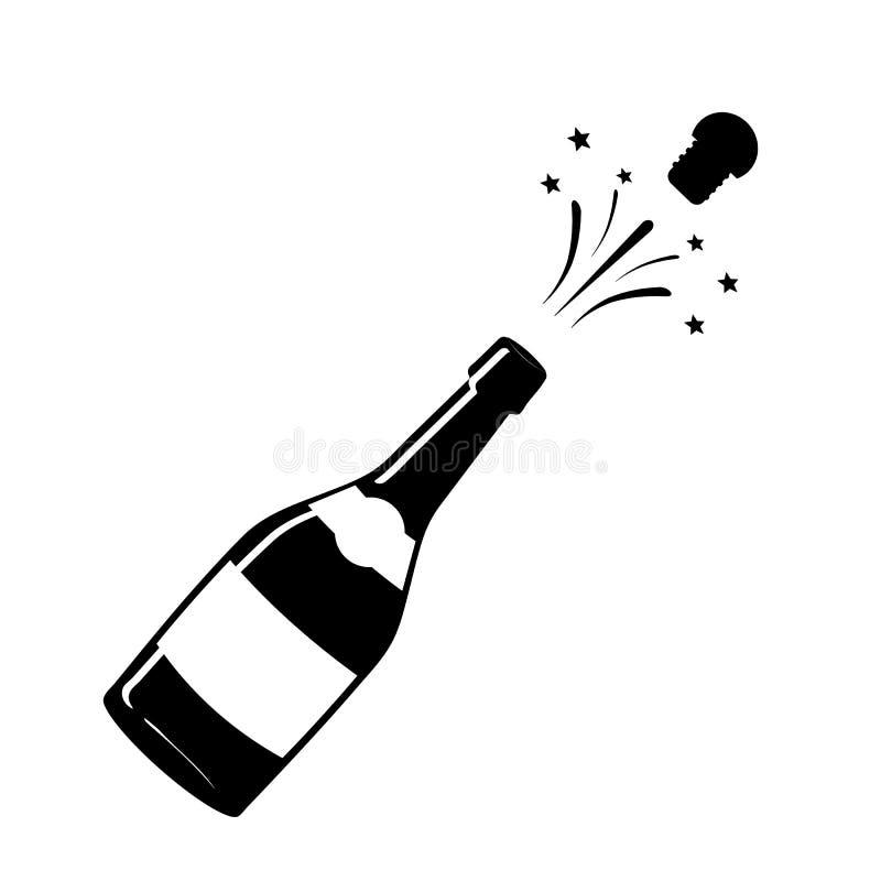 Значок Шампани Черный силуэт бутылки шампанского iconography вектор иллюстрация штока