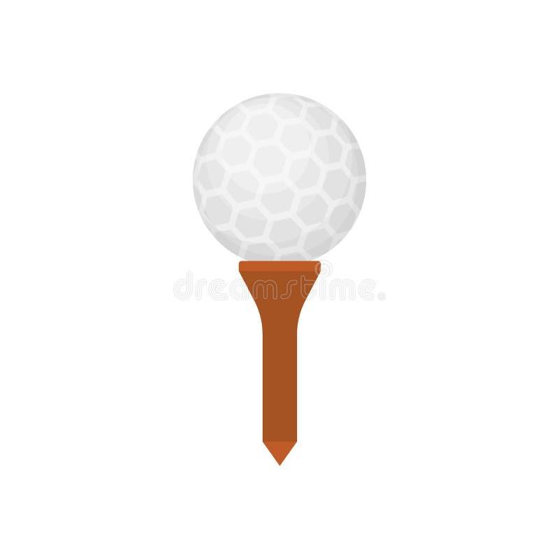 Значок шара для игры в гольф на тройнике изолированном на белой предпосылке, плоском элементе для играть в гольф, оборудовании го иллюстрация вектора