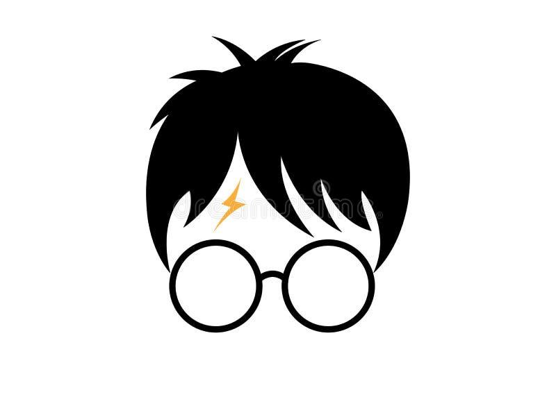 Значок шаржа Гарри Поттера, минимальный вектор стиля иллюстрация штока