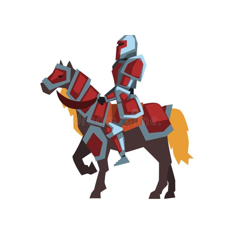 Значок шаржа рыцаря верхом Королевский всадник лошади в красном стальном панцыре Плоский дизайн вектора для открытки, черни или бесплатная иллюстрация
