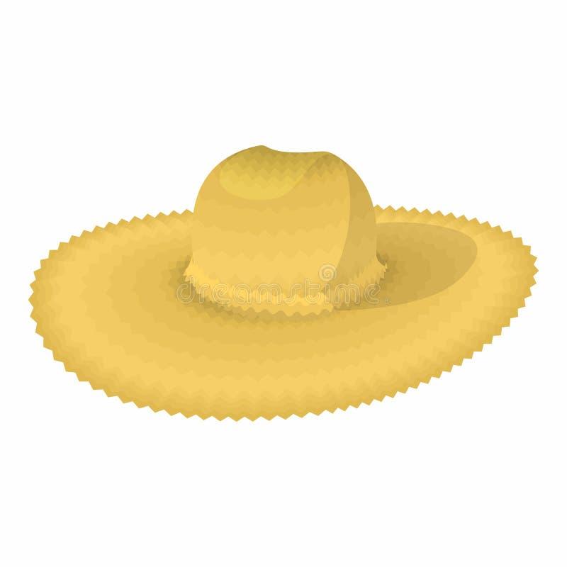 Значок шаржа соломенной шляпы иллюстрация вектора