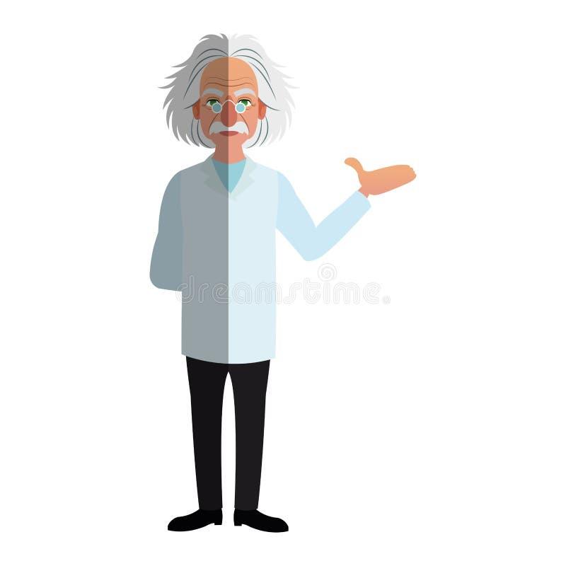 Значок шаржа человека ученого иллюстрация вектора