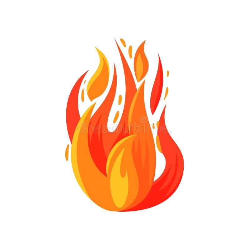 Значок шаржа ярко пылая огня Горящий лагерный костер Яркое пламя красно-апельсина Плоский вектор для передвижной игры, стикера иллюстрация штока